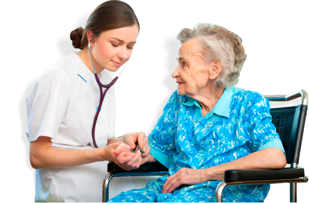 a nurse checks the health condition of the elderly woman