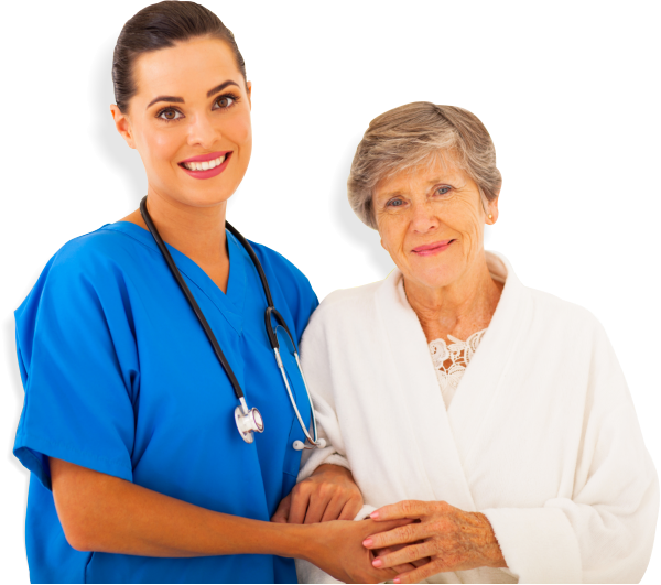 a nurse and elderly woman smiling